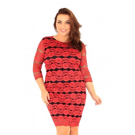 Punase pitsmustriga kleit