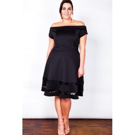 Sinise pitsiga must kleit